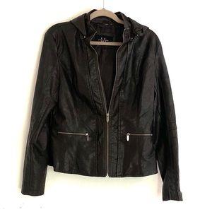 LA Coalition Vegan Leather Jacket w Hood L EUC